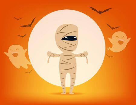 Cute Mummy. Halloween costume concept, Cute witch demon, Kid in Halloween celebration