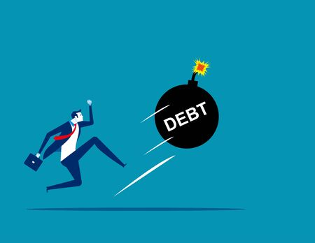 Businessman kicking a giant debt away. Concept business vector, Debt, Challenge, Risk.