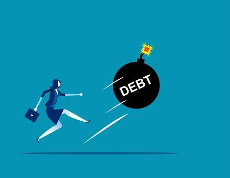 Businesswoman kicking a giant debt away. Concept business vector, Debt, Challenge, Risk.