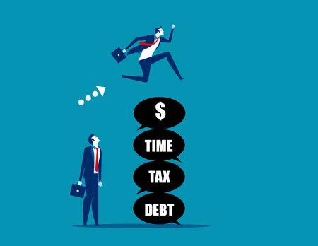 Leader jumping over the problem itself. Concept business vector,  Tax, Debt, Risk. Stok Fotoğraf - 131689878