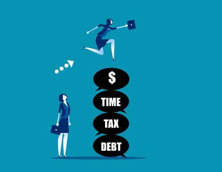 Leader jumping over the problem itself. Concept business vector, Tax, Debt, Risk. Vektoros illusztráció