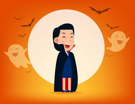Cute Dracula character with old scythe. Halloween costume concept, Cute witch demon, Kid in Halloween celebration Ilustrace
