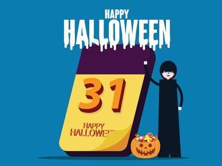 Halloween calendar. Happy halloween celebration concept, Flat cartoon character style design