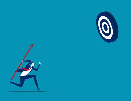 Businessman shooting aim target. Concept business vector, Achievement, Successful. Illustration
