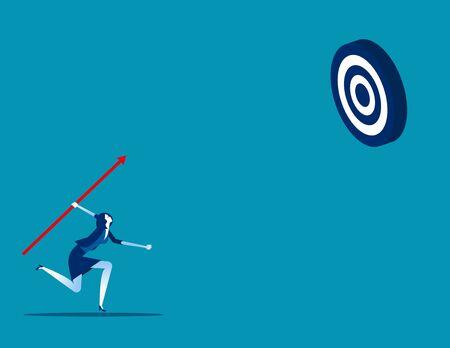 Businesswoman shooting aim target. Concept business vector, Achievement, Successful.