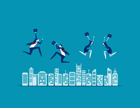 People jumping. Concept business vector, City, Teamwork, Relax.