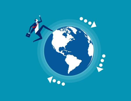Businessman running on the planet. Concept business vector, World business.