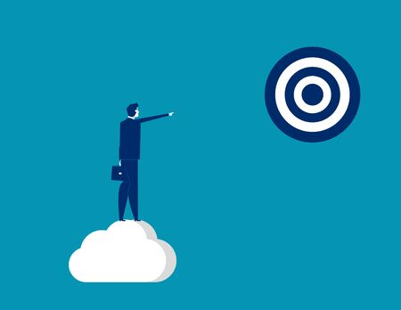 Businessman pointing to target. Concept business vector, Successful, Achievement.