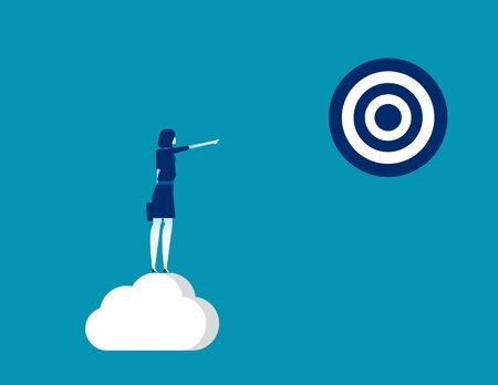 Businesswoman pointing to target. Concept business vector, Successful, Achievement. Ilustrace