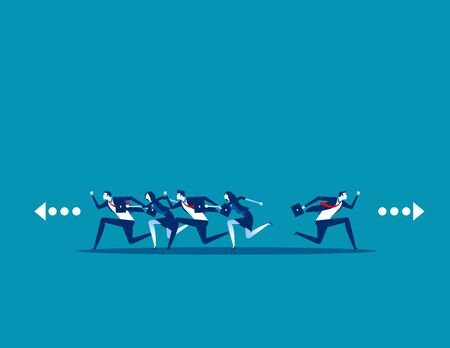 Business people running and direction to different. Concept business vector, Run, Teamwork.