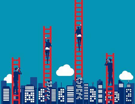 Business growth. Concept business vector illustration, Leadership, Looking. Ilustração