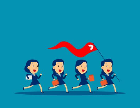 Business leader holding red flag. Concept business vector illustration, Teamwork, Achievment,