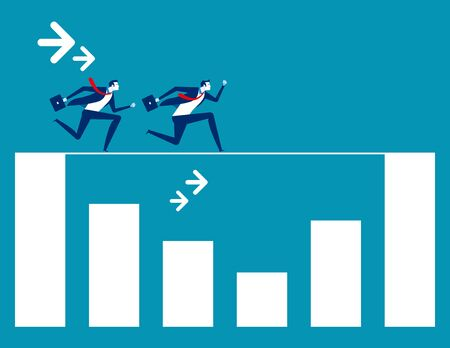 Business team running rope above  graph. Concept business vector illustration,  Ilustrace