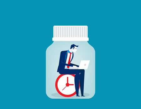 Businessman working trapped inside of bottle. Concept business vector illustration, Freedom, Liberty