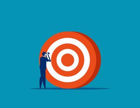 Businessman searching target. Concept business vector illustration, Successful, Achievement, Goal. Ilustrace