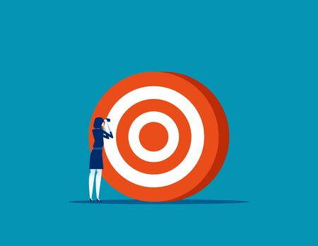 Businesswoman searching target. Concept business vector illustration, Successful, Achievement, Goal.