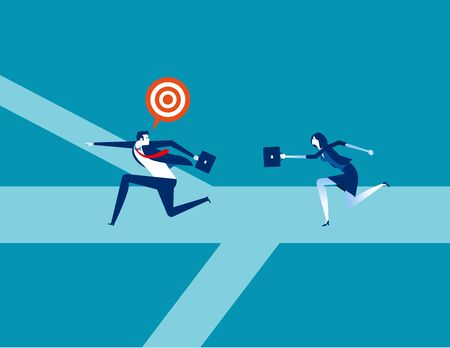Leader going to goal together. Concept business vector, Direction, Decision, Running.