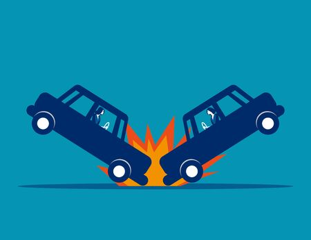 Car accident. Concept business vector, Broken, Road, Collision.