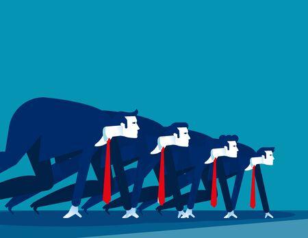 Les gens d'affaires se sont alignés pour se préparer pour la course. Illustration vectorielle de concept business, ligne de départ, démarrage Vecteurs