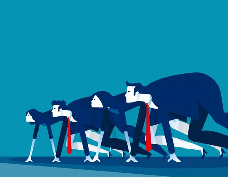 Business people lined up getting ready for race. Concept business vector illustration,  Starting line, Startup