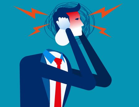 Businessman with headache. Concept business vector, Anger, Pressure. Ilustracja