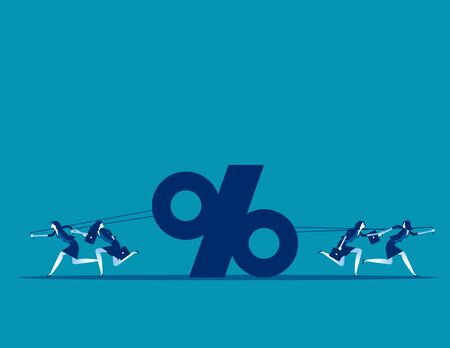 Business people competition. Concept business vector, Percentage, Pulling,  Teamwork.  Ilustracja