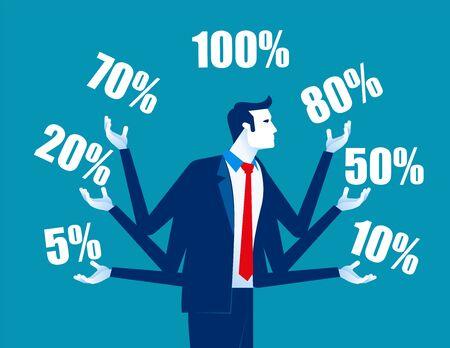 Business promotions discounts sale. Concept business vector, Juggling, Trade, Percentage. Vektorové ilustrace
