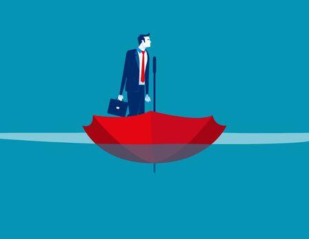 Biznesmen na łodzi parasoler. Koncepcja biznesowa wektor, morze, woda, statek.
