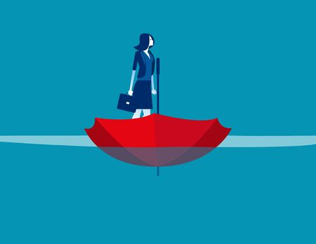 Businesswoman on umbrellar boat. Concept business vector, Sea, Water, Ship.