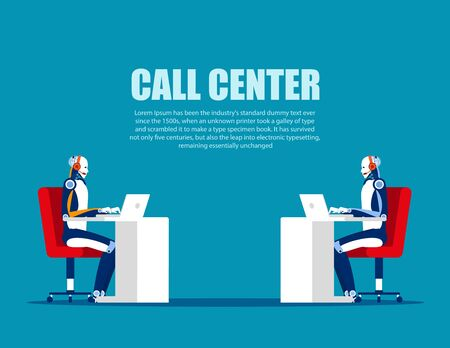 Cartoon characters for call center. Concept business vector, Online telephone, Support service, Consultant. Çizim