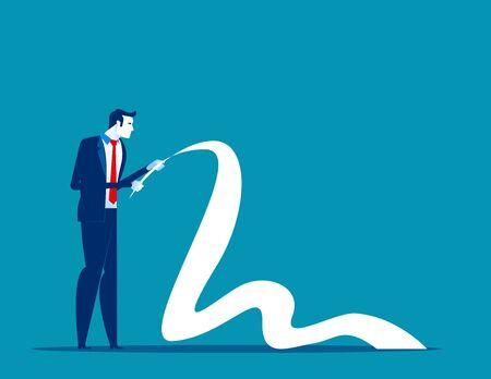 Businessman reading long paper list. Concept business vector, Document list, Report