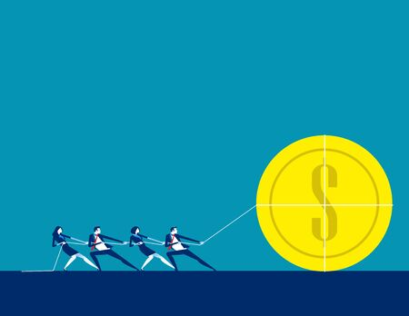 Business teamwork together to achieve the goal. Concept business vector, Team, Successful, Financial. Ilustrace