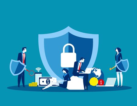 Technology security. Concept business vector, Data security, Internet, Programming.