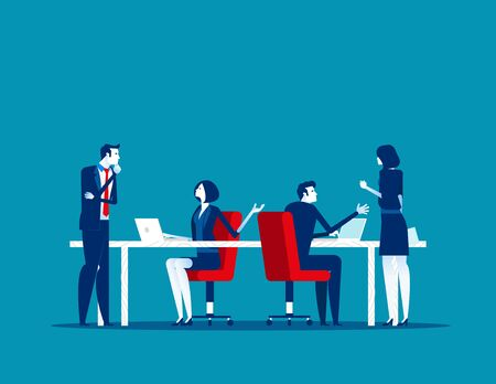 Business people working in modern office, work and talking with colleagues. Concept business vector, Meeting, Communication.