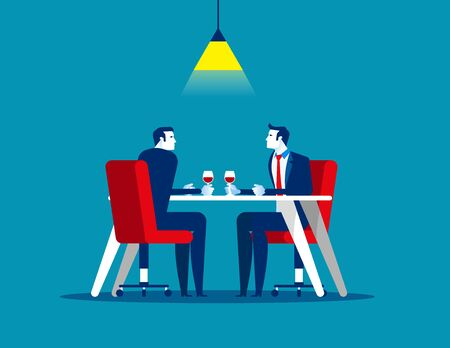Business meeting in restaurant. Concept business vector, Couple, Team, Outdoors.