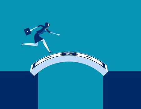 Businesswoman running cross money bridge. Concept business vector illustration, Currency, Successful.