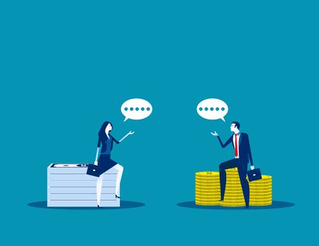 Business investor talking. Concept business vector illustration, Meeting, Opportunity, Investment.