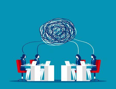 Équipe commerciale avec communication complexe. Illustration vectorielle de concept business, travail d'équipe, partenaire, conflit.