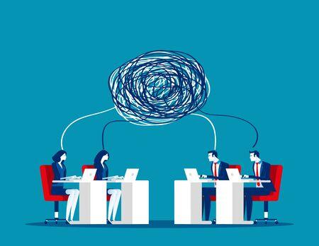Business team with complex communication. Concept business vector illustration, Teamwork, Partner, Conflict.