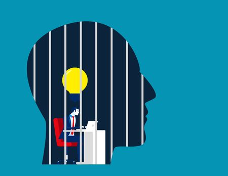 Businessman is locked in the head. Concept business vector illustration, Prison, No Freedom. Иллюстрация