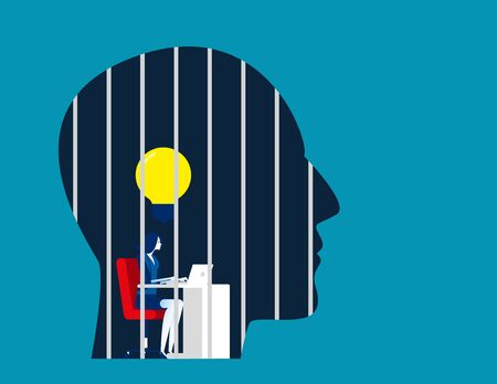 Businesswoman is locked in the head. Concept business vector illustration, Prison, No Freedom. Иллюстрация