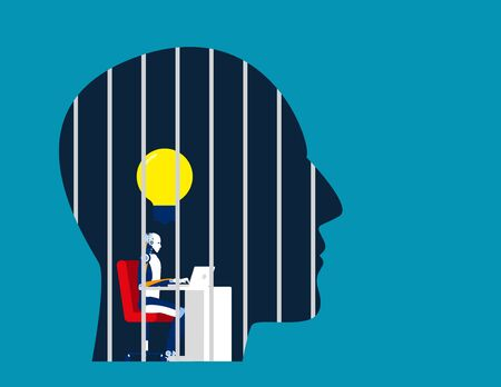 Robot is locked in the head. Concept business vector illustration, Prison, No Freedom.