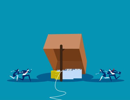 Trap for New business. Concept business vector illustration,  Risk, Problem, Rookie.