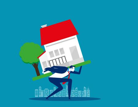 Businessman home carrying on back. Concept business vector illustration,  Loan, Risk, Debt.