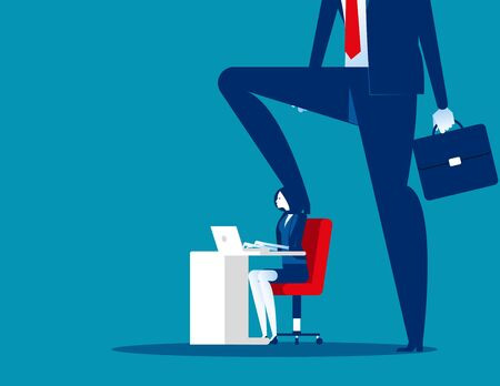 Boss pressure at office work. Concept business vector illustration,  Stressed out, Oppressive, Insult.