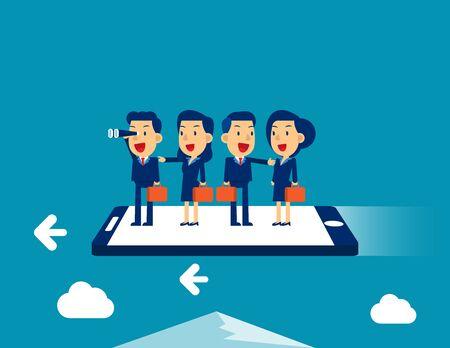 Equipo de negocios volando en smartphone. Ilustración de vector de concepto empresarial, reunión, trabajo en equipo.