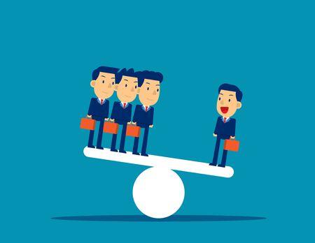Équipe commerciale sur la balançoire. Illustration vectorielle de concept d'entreprise, style de caractère Corporate, coupe plate. Vecteurs