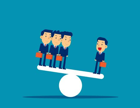 Business team on seesaw. Concept business vector illustration, Corporate, Flat cut character style.
