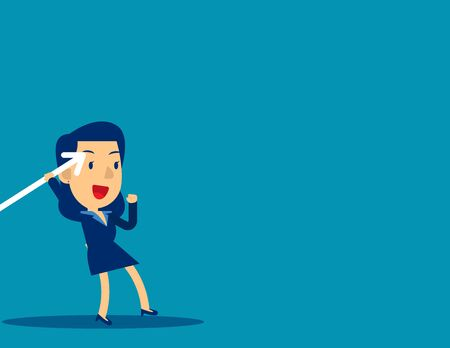 Businesswoman throwing the javelin. Concept cute business vector illustration, Sport, Growth.
