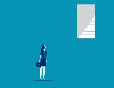 Businesswoman look door too up to reach. Concept business vector illustration, Open, Failure,High.